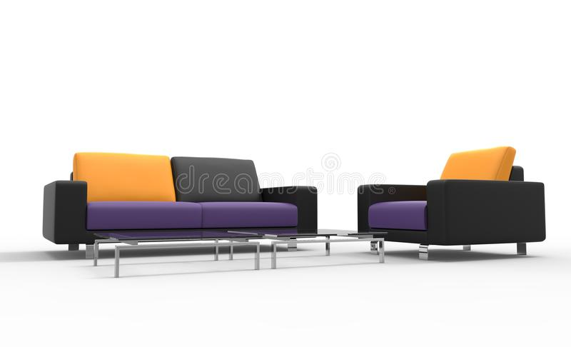 Cuscini neri di Sofa And Armchair With Yellow royalty illustrazione gratis