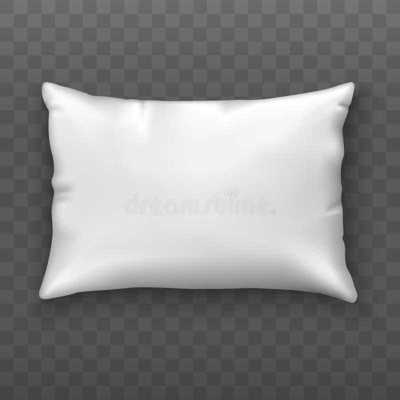 Cuscino bianco in bianco Cuscino molle Derisione su Vista superiore Stile realistico Illustrazione di vettore illustrazione di stock