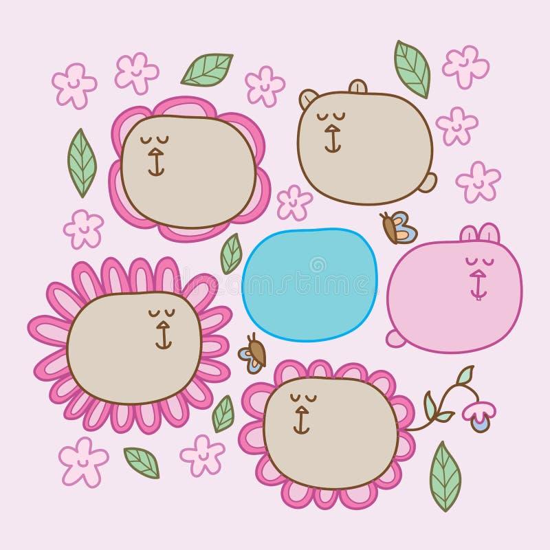 Cuscino del fiore dell'orso sveglio royalty illustrazione gratis