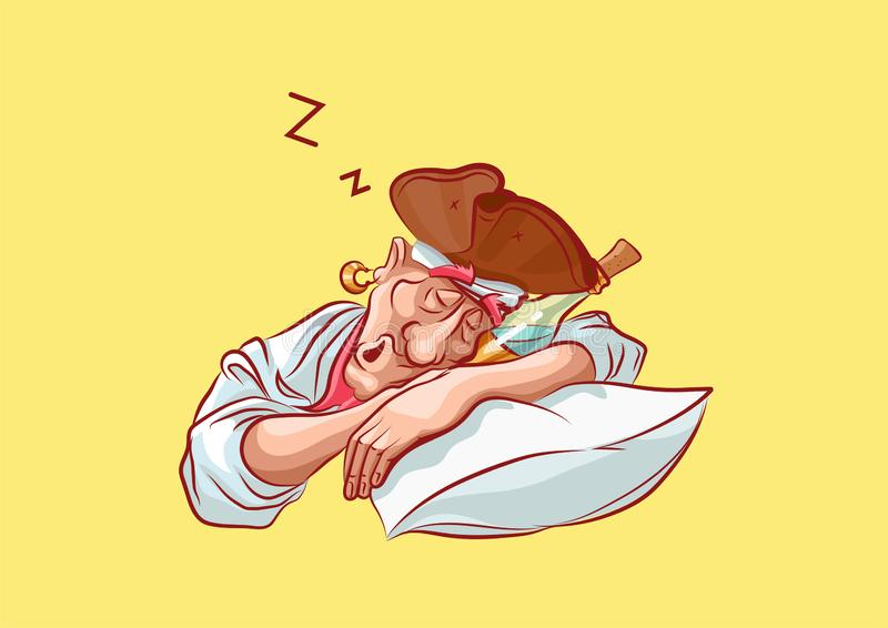 Cuscino di sonno della mascotte di capitano dell'autoadesivo di Emoji illustrazione di stock