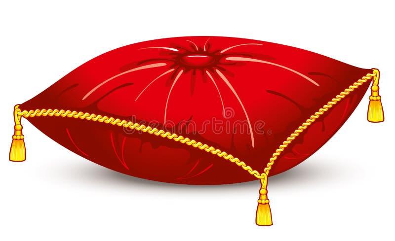 Cuscino rosso del raso con le nappe dell'oro illustrazione vettoriale