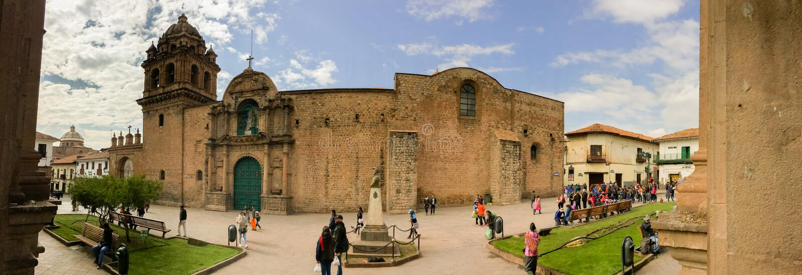 Cusco Architecture Panoramic. CUSCO - SEPTEMBER 02: Tourists, locals and architecture close-ups on the streets of Cusco, Peru on September 2nd, 2016 stock photos