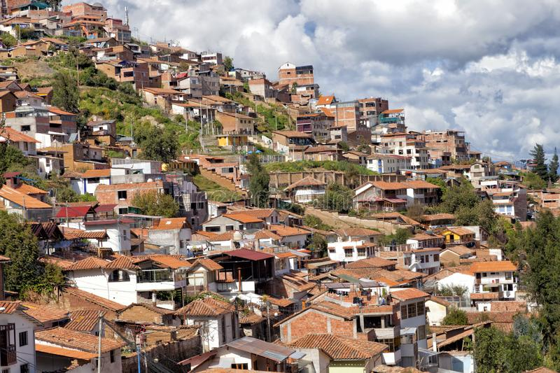 Cusco hillside houses royalty free stock image