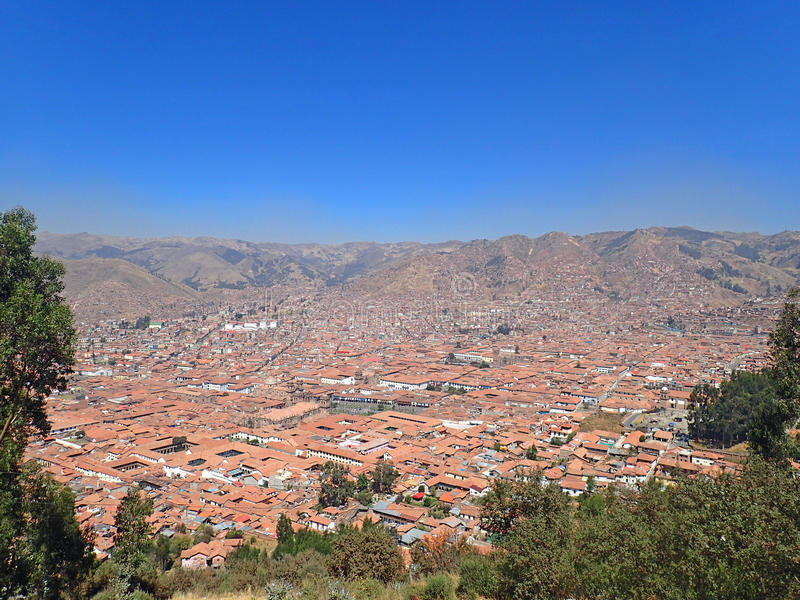 Aerial view of Cusco, Peru. Amazing view of Cusco, Peru royalty free stock photography