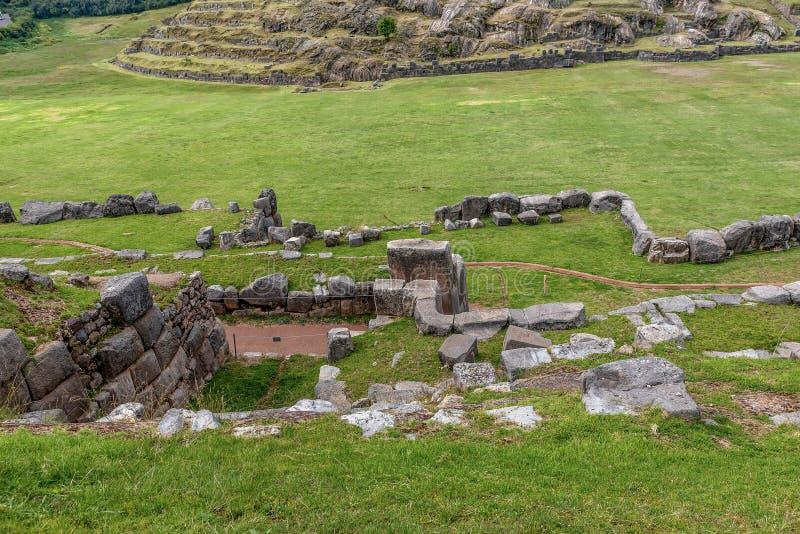 Cusco Peru Heritage plats av den Saksaywaman Incafästningen från 15 c fotografering för bildbyråer