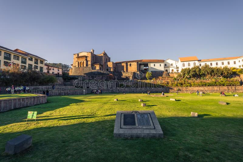 Cusco, Peru - Juli 31, 2017: Kerk van Santo Doming in oud t royalty-vrije stock foto's