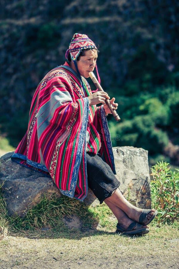 Cusco / Peru - May 29.2008: Portrait of a man, shepherd, goat herder, dressed up in native, peruvian costume stock photography