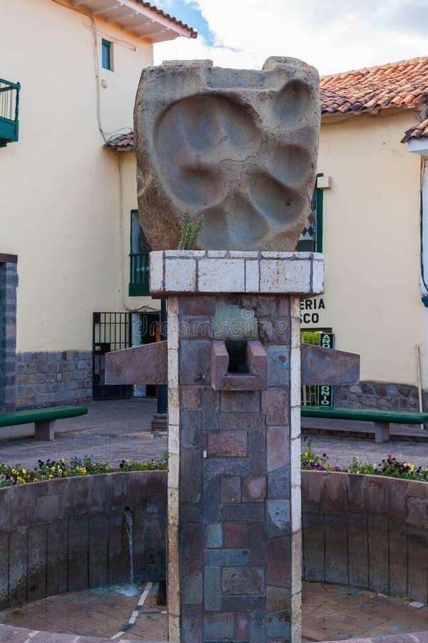 Cusco / Peru - May 27.2008: Puma the animal footprint statue stock image
