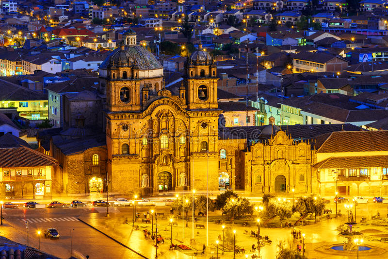 Cusco, Peru - Overview of the Plaza de Armas and Church of the Society of Jesus stock photography