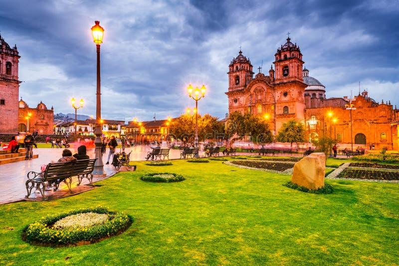 Cusco Peru - Plaza de Armas royaltyfria bilder