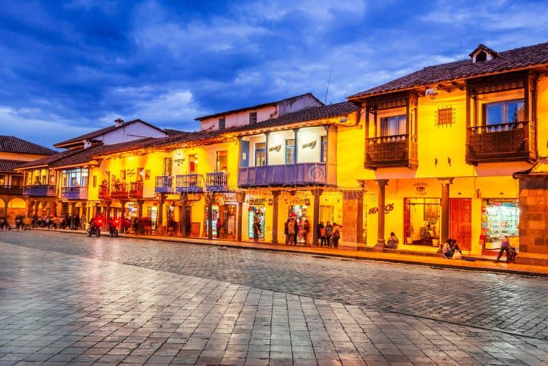 Cusco Peru - Plaza de Armas arkivbild