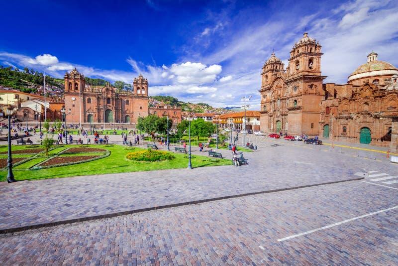 Cusco Peru - Plaza de Armas arkivbilder