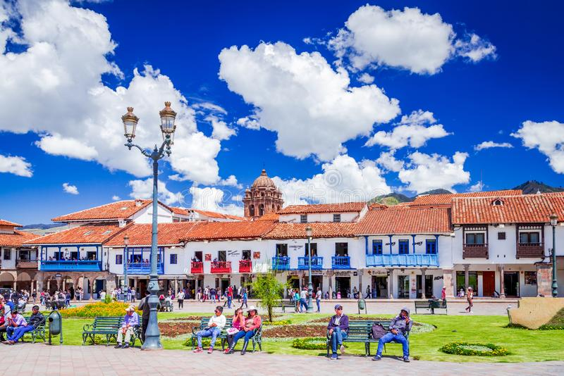 Cusco Peru - Plaza de Armas royaltyfri foto