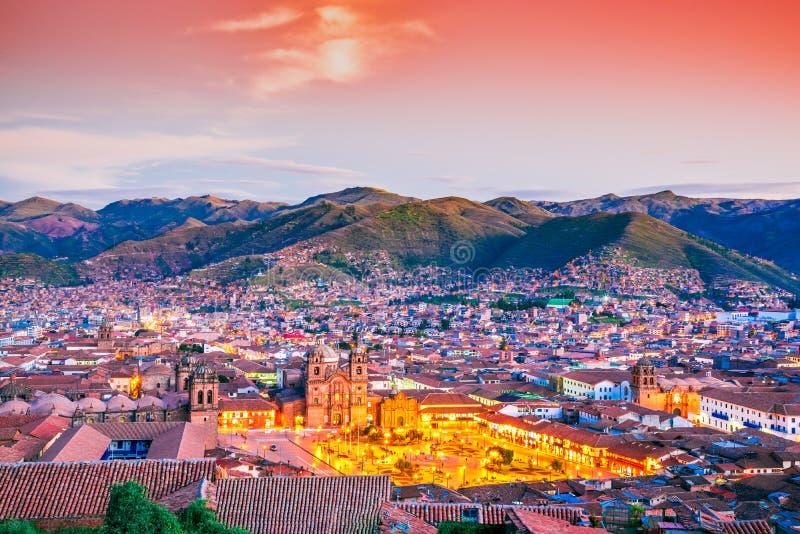 Cusco Peru - Plaza de Armas fotografering för bildbyråer