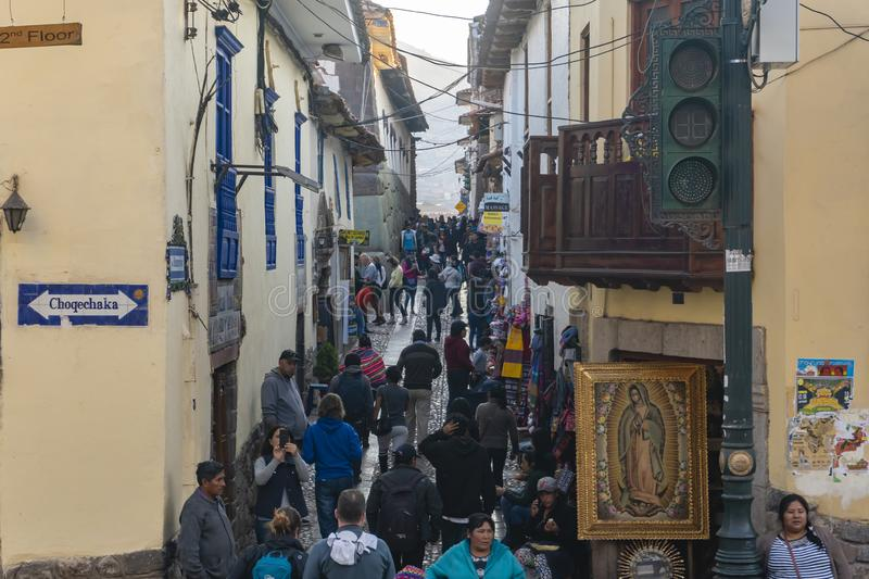 View of a crowded alley in Cusco city of Peru stock photography