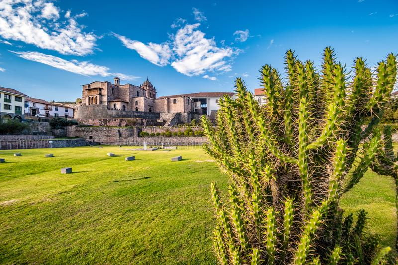 Cusco Sacred Garden with Iglesia de Santo Domingo church and Coricancha museum in background, Cusco, Peru, South america royalty free stock photos