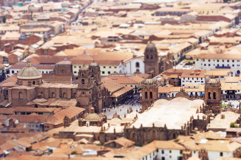 Cusco Tilt Shift. Plaza de Armas of Cusco, Peru. (NOTE: Narrow depth of field via selective focus / tilt-shift effect royalty free stock photo