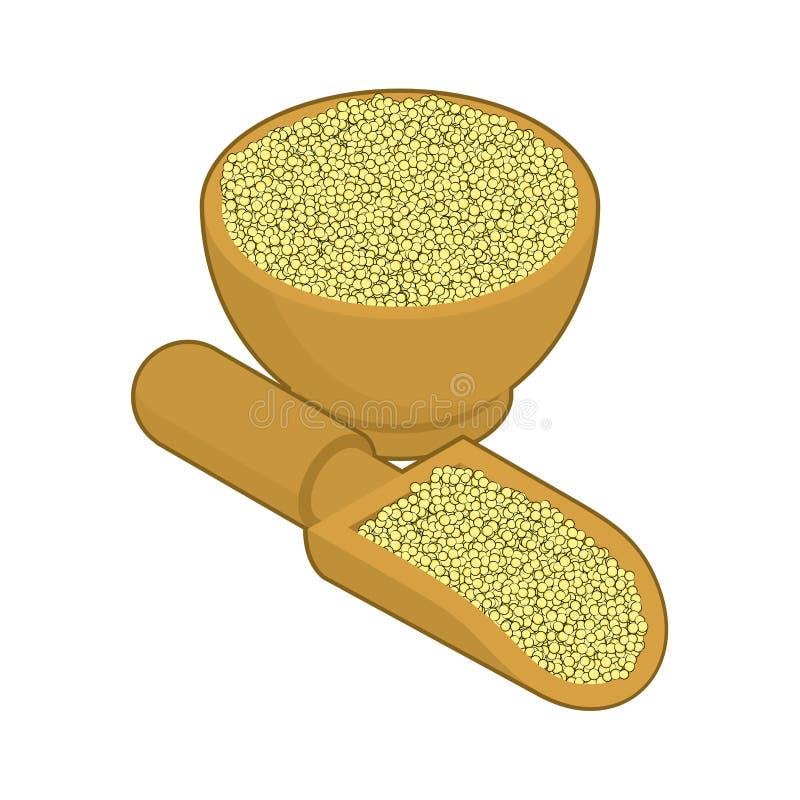 Cuscus в деревянных шаре и ложке Гроуты в деревянных блюде и лопаткоулавливателе бесплатная иллюстрация