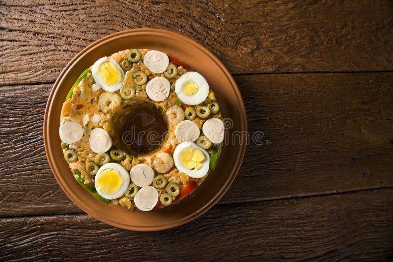 Cuscuz Paulista - alimento brasiliano tradizionale immagini stock libere da diritti