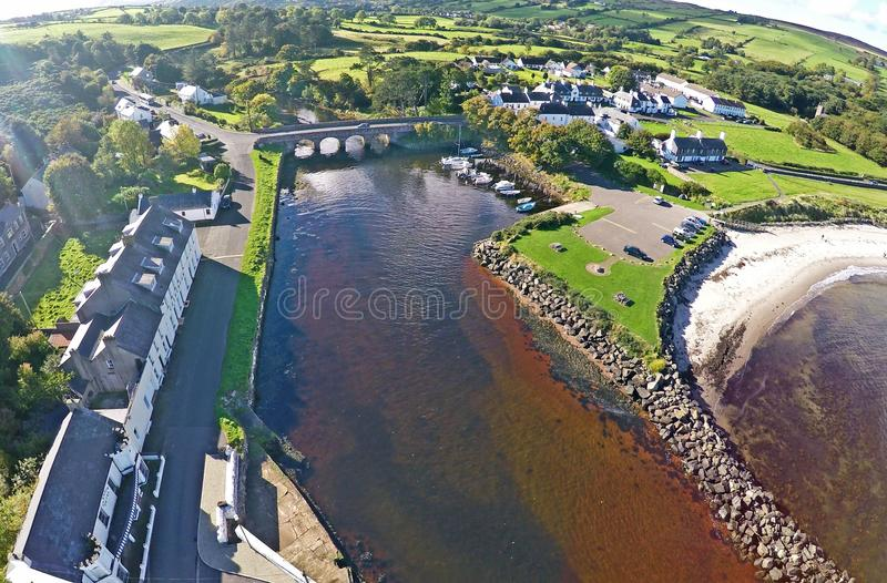 Cushendun Co.Antrim Northern Ireland ireland. Dunluce Castle Co. Antrim Northern Ireland n.i. rathlin island gles of antrim green glens stock photo