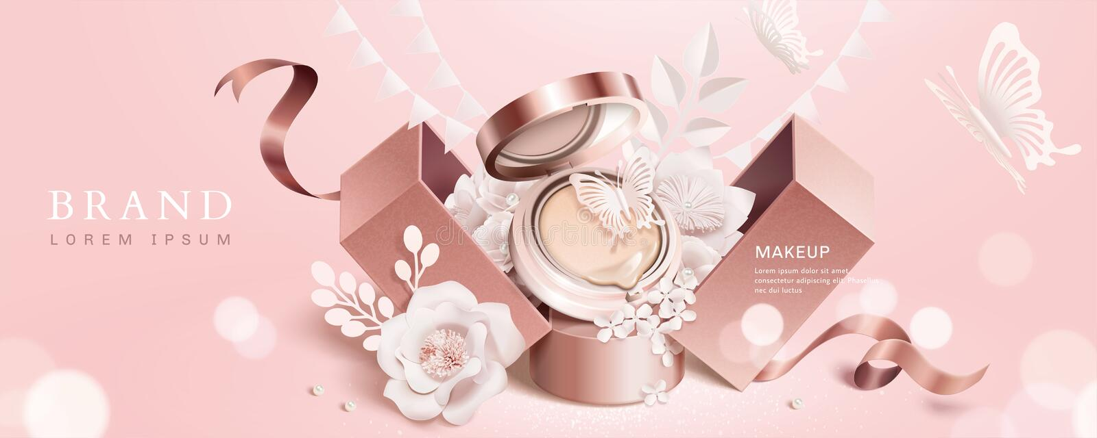 Cushion compact banner ads. Cushion compact shows up from gift box with paper flowers on light pink background, cosmetic banner ads royalty free illustration