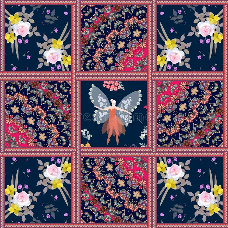 Cushion in patchwork style with winged fairy, indian ornamental patterns and flowers vector illustration