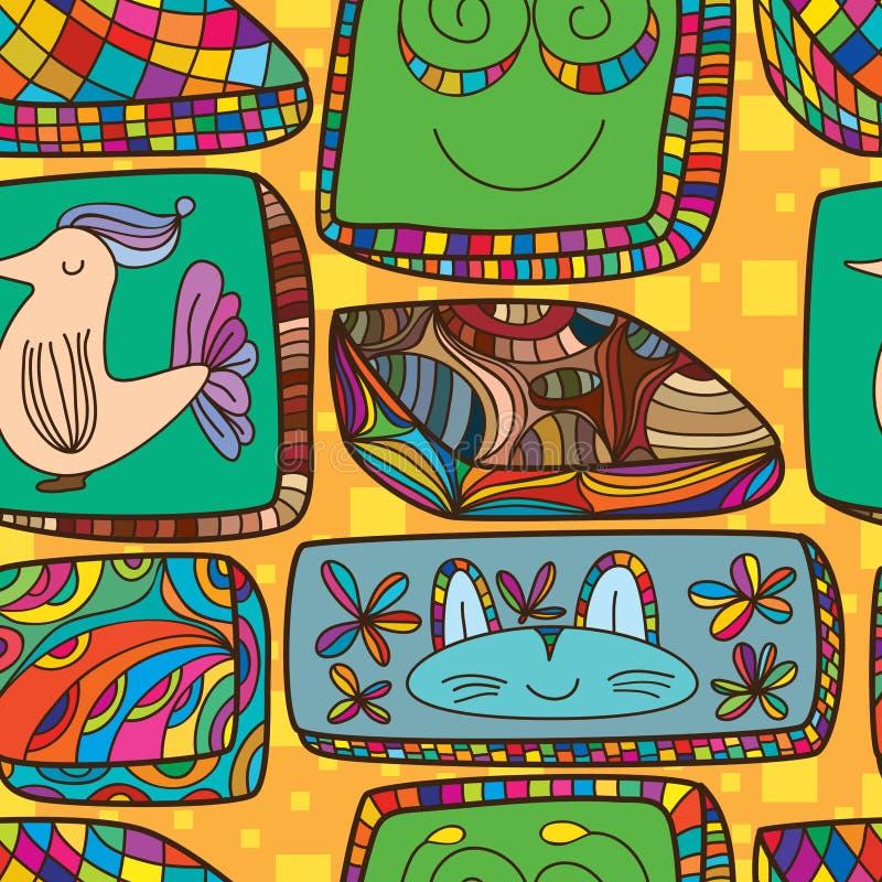 Cushion square draw seamless pattern royalty free illustration