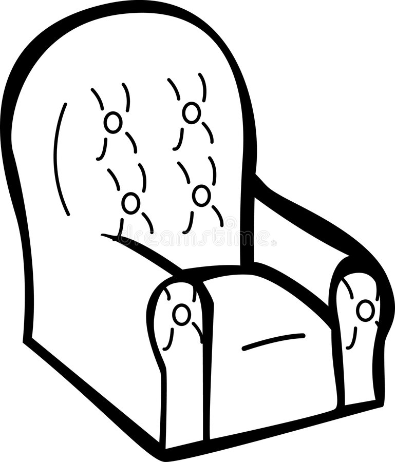 Cushioned Armchair Vector Illustration Royalty Free Stock Images