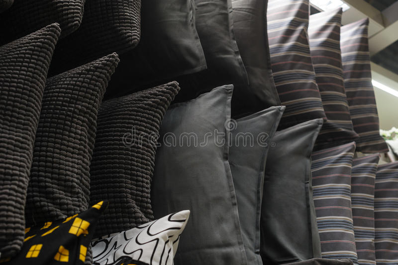 Cushions on the rack in the closet stock image