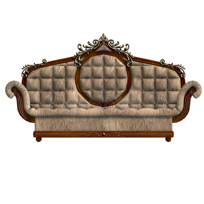 Cushy sofa of louis XV. 3D rendering of a cushy sofa of louis XV. with clipping path and shadow over white royalty free illustration