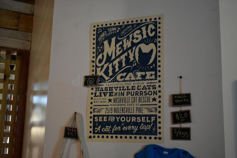 Cusom Cat Themed Hatch Print - Mewsic Kitty Cafe stock foto's