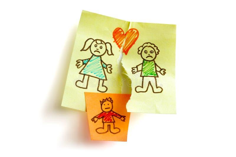 Custódia do divórcio e de criança imagens de stock
