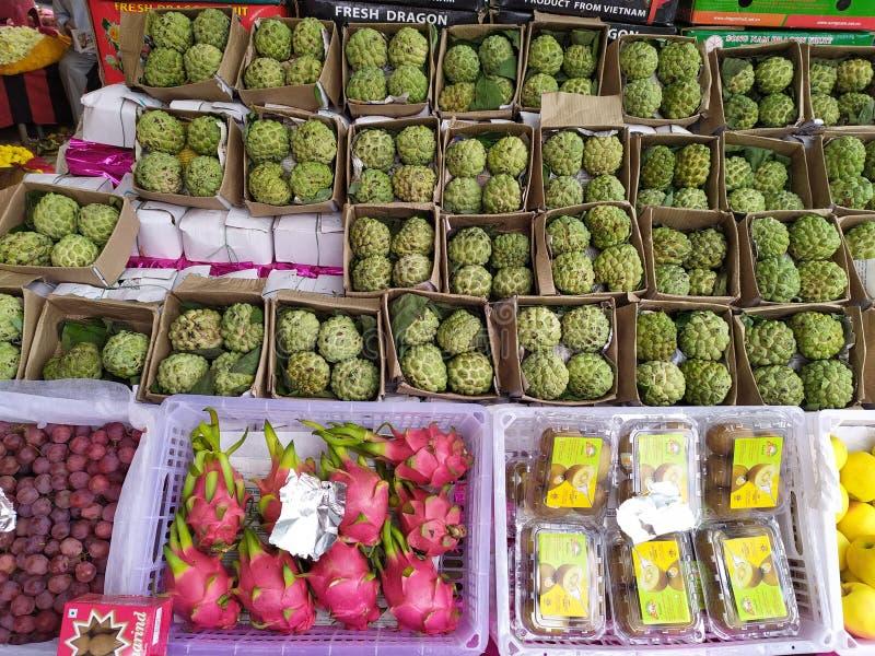 Custard apple, dragon fruit, kiwi fruits stock photography
