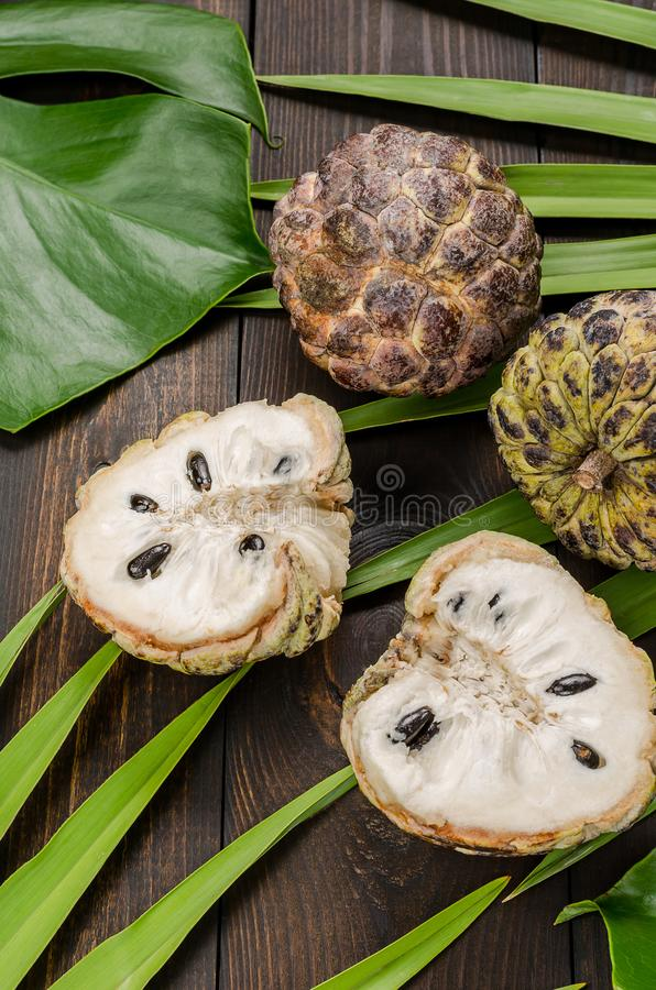 The custard apple, sugar apple sweetso. The custard apple, sugar apple sweetsop, or anon, Annona squamosa , The exotic fruits royalty free stock photography