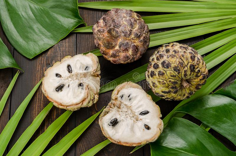 The custard apple, sugar apple sweetso. The custard apple, sugar apple sweetsop, or anon, Annona squamosa , The exotic fruits royalty free stock photos