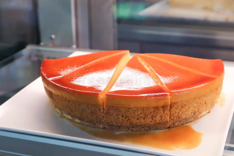 Custard cake or custard cake pudding royalty free stock images