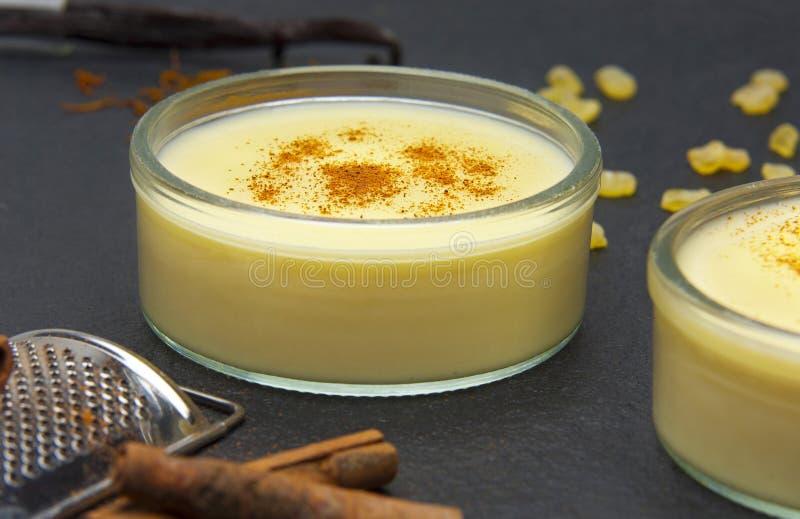Custard pudding obraz stock