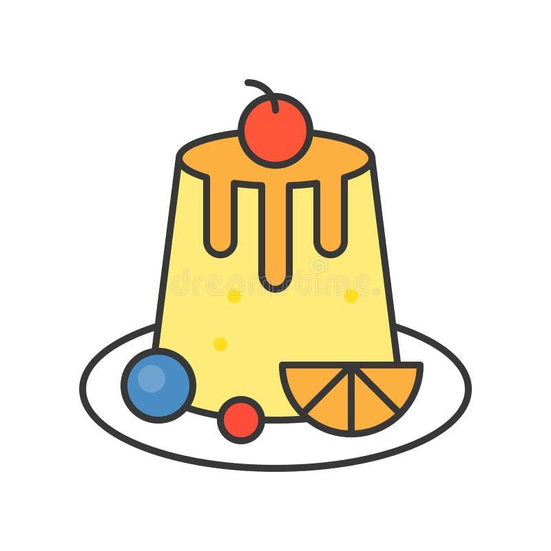 Custard pudding cukierki i ciasto set, wypełniał kontur ikonę ilustracja wektor