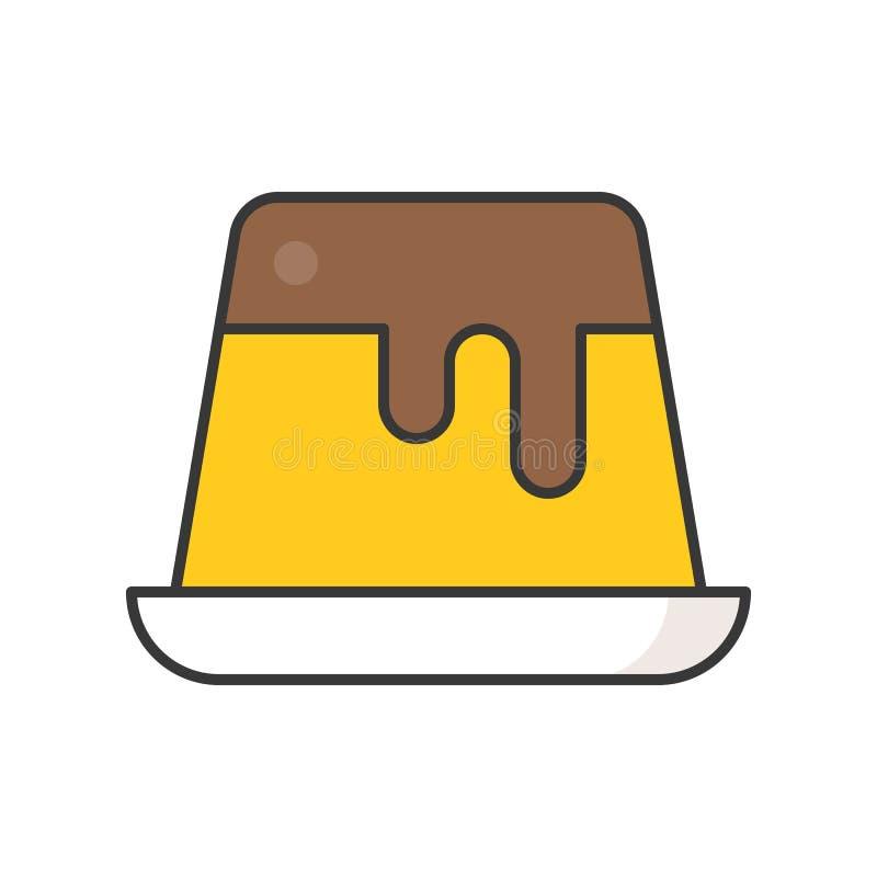 Custard pudding cukierki i ciasto set, wypełniał kontur ikonę ilustracji
