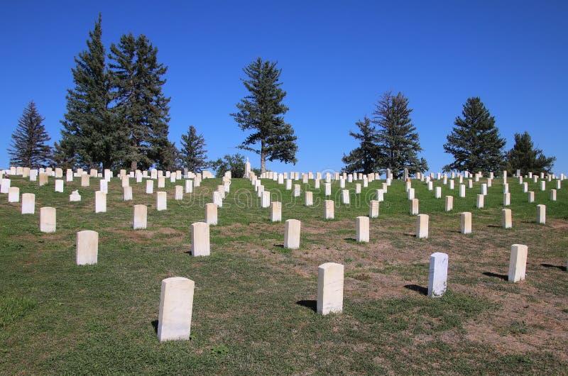 Custer National Cemetery au ressortissant de champ de bataille de Little Bighorn images stock
