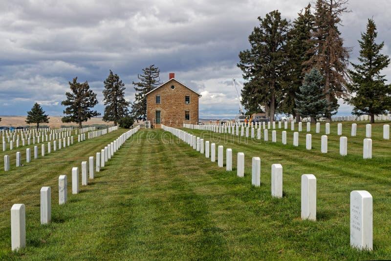 Custer National Cemetery en el campo de batalla del Little Bighorn imagen de archivo libre de regalías