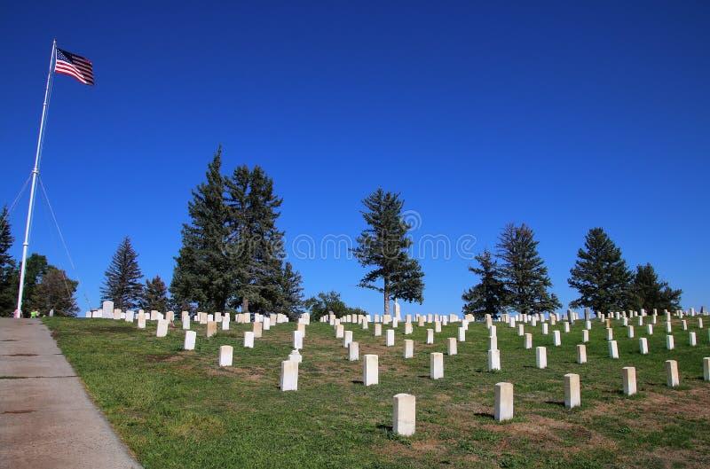 Custer National Cemetery en el nacional del campo de batalla del Little Bighorn fotografía de archivo libre de regalías
