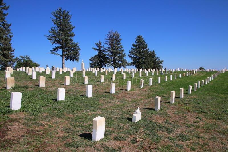 Custer National Cemetery no nacional do campo de batalha do Little Bighorn fotos de stock royalty free