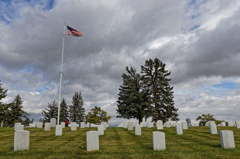 Custer National Cemetery på Little Bighorn royaltyfria foton