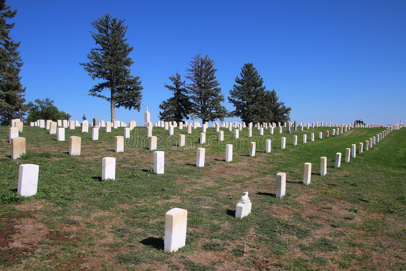 Custer National Cemetery på Little Bighornslagfältmedborgaren royaltyfria foton