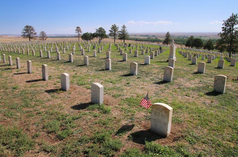 Custer National Cemetery på Little Bighornslagfältmedborgaren royaltyfri bild