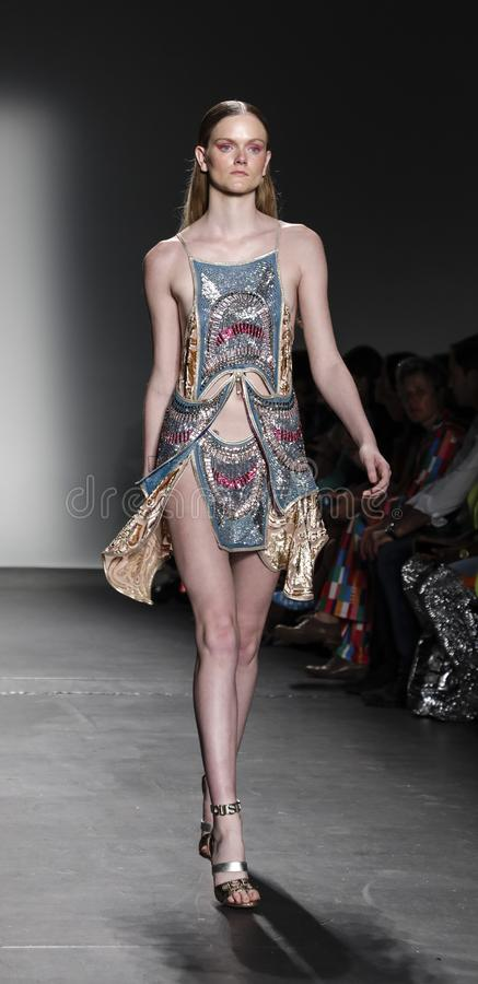 Custo Barcelona SS 2020. New York, NY, USA - September 9, 2019: A model walks runway for Custo Barcelona Spring/Summer 2020 collection during New York Fashion stock photo