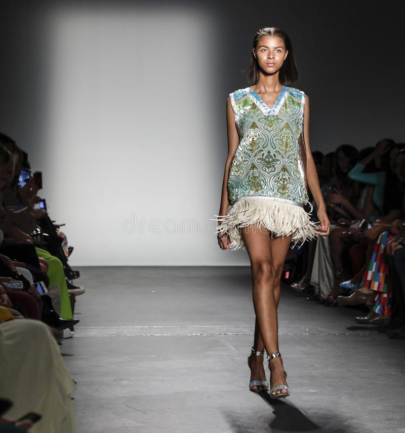 Custo Barcelona SS 2020. New York, NY, USA - September 9, 2019: A model walks runway for Custo Barcelona Spring/Summer 2020 collection during New York Fashion stock image