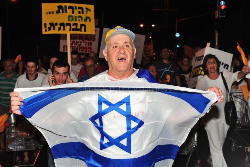Custo de vida do protesto de 300.000 israelitas imagens de stock royalty free