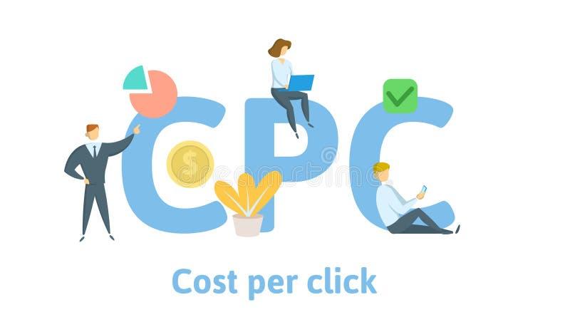 Custo do CPC pelo clique Conceito com palavras-chaves, letras, e ícones Ilustração lisa do vetor Isolado no fundo branco ilustração stock